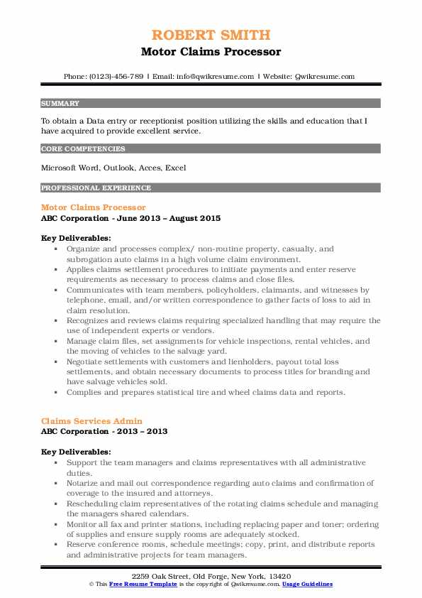 Motor Claims Processor Resume Example