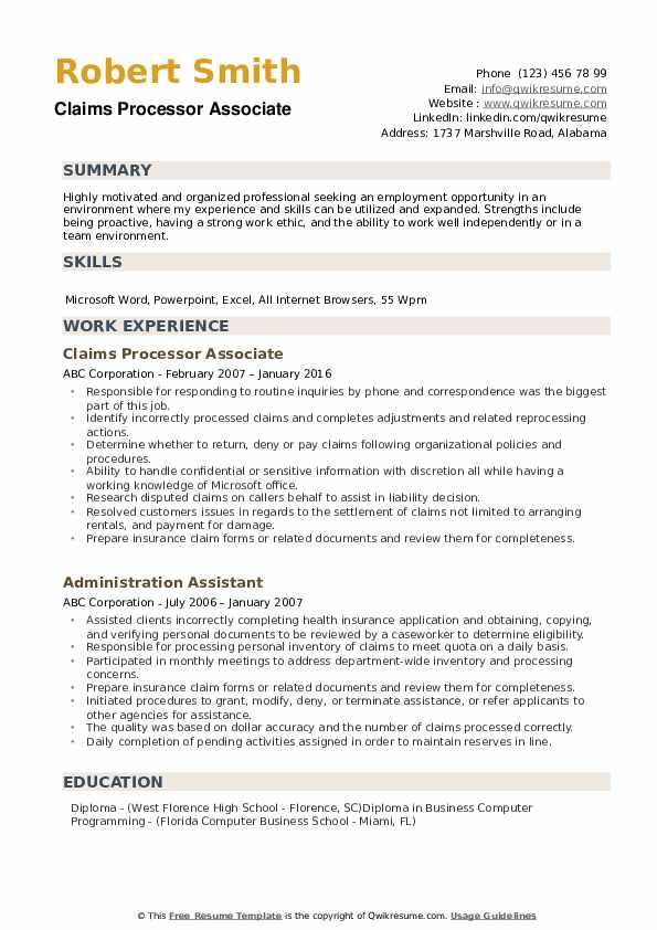 Claims Processor Associate Resume Model
