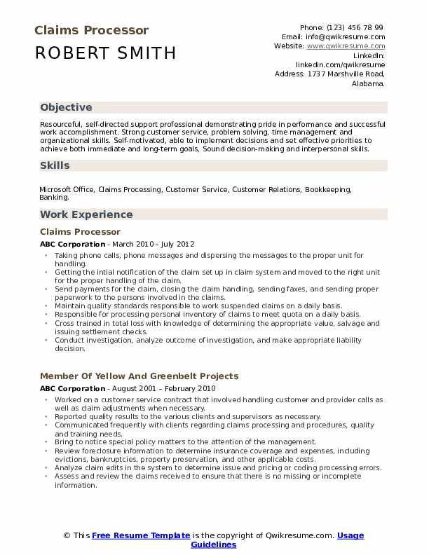 Claims Processor Resume Example