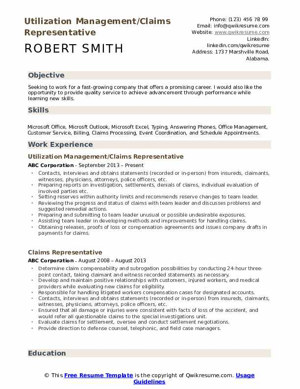 Utilization Management/Claims Representative Resume Template