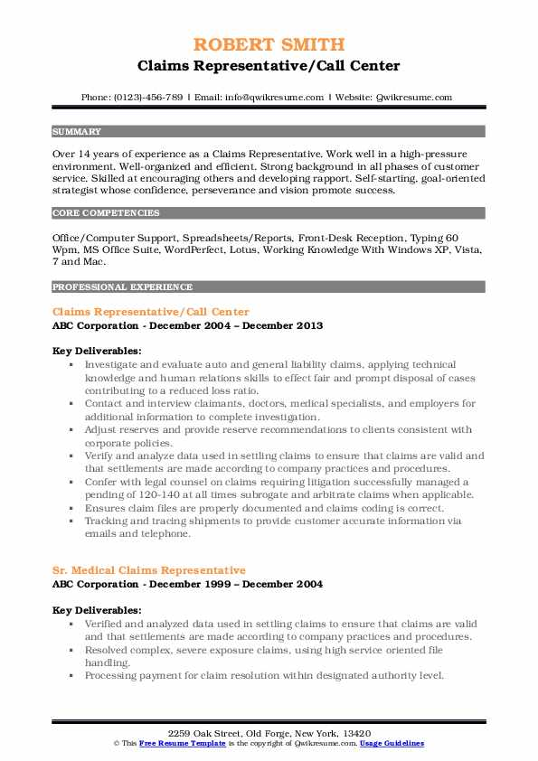 Claims Representative/Call Center Resume Format