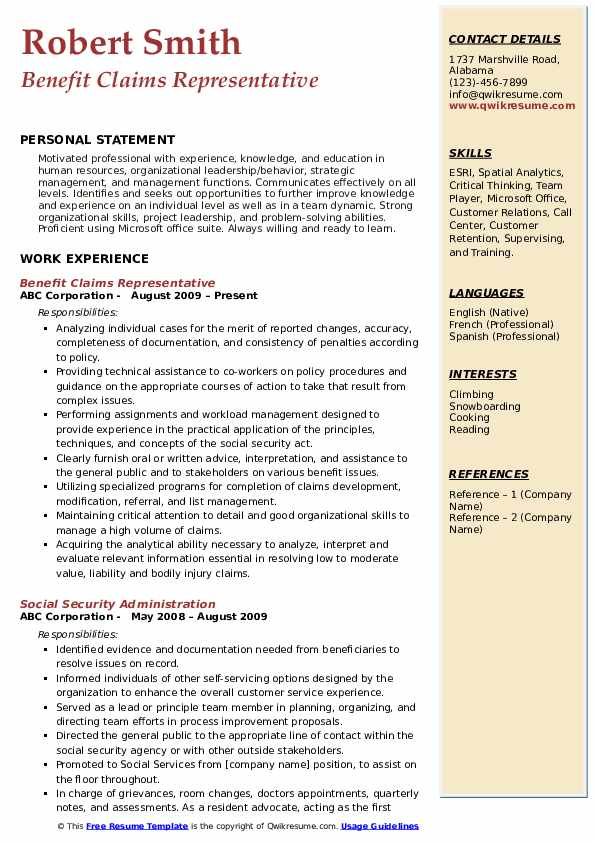 Benefit Claims Representative Resume Example