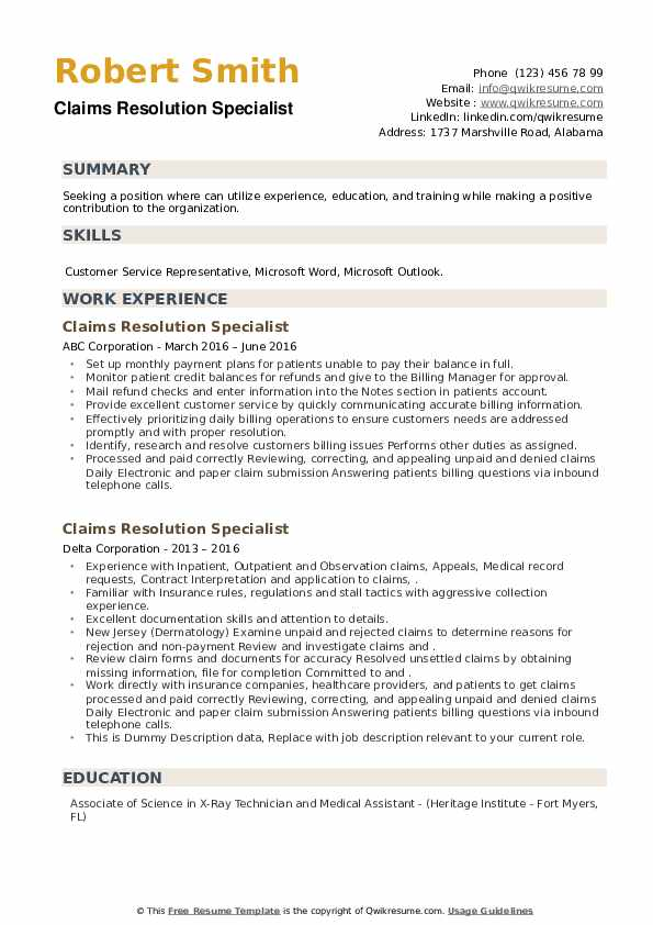 Claims Resolution Specialist Resume example