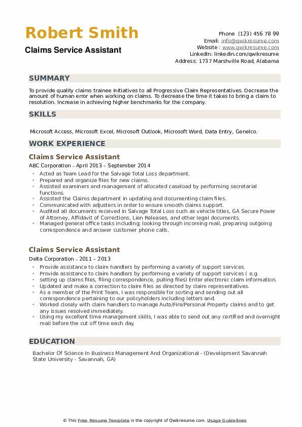 Claims Service Assistant Resume example