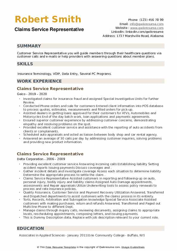 Claims Service Representative Resume example