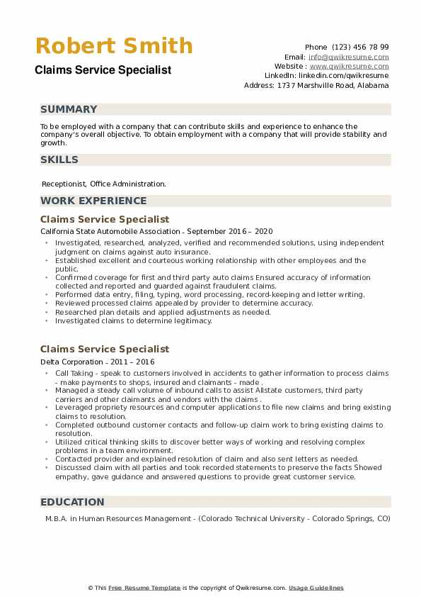Claims Service Specialist Resume example