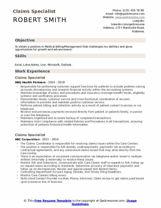 Claims Specialist Resume Sample