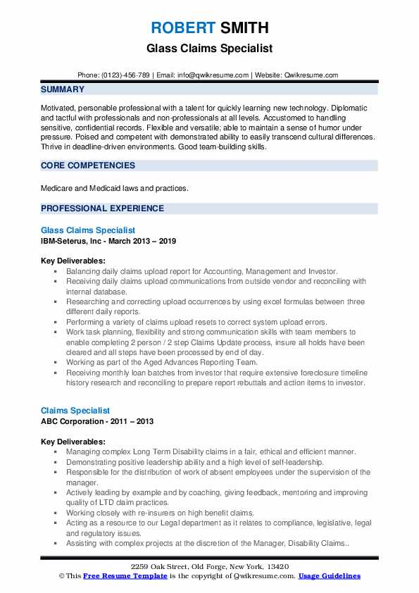 Glass Claims Specialist Resume Template