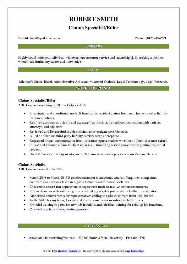 Claims Specialist/Biller Resume Example