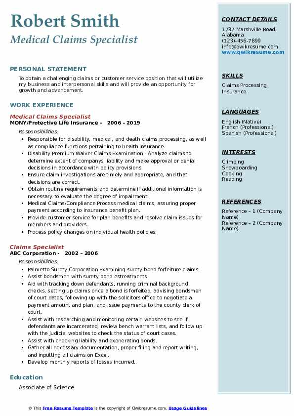 Medical Claims Specialist Resume Format