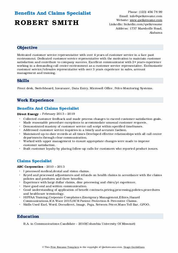 Benefits And Claims Specialist Resume Sample