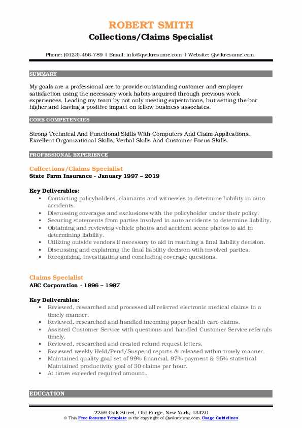 Collections/Claims Specialist Resume Example