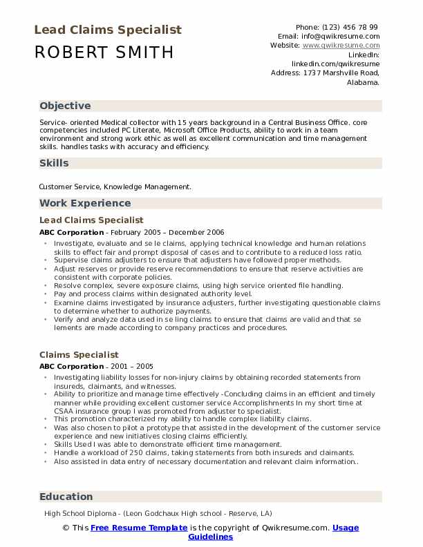 Lead Claims Specialist Resume Template