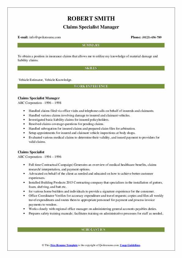 Claims Specialist Manager Resume Template