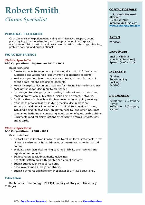 Claims Specialist Resume example