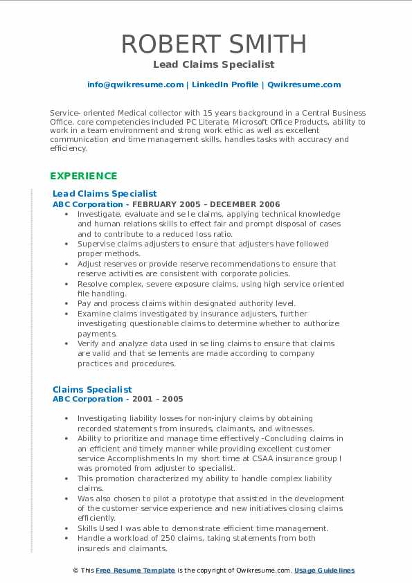 Medical Collector Specialist Resume Sample