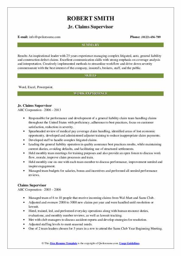 Jr. Claims Supervisor Resume Example