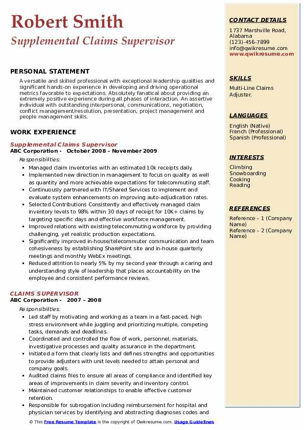 Supplemental Claims Supervisor Resume Example