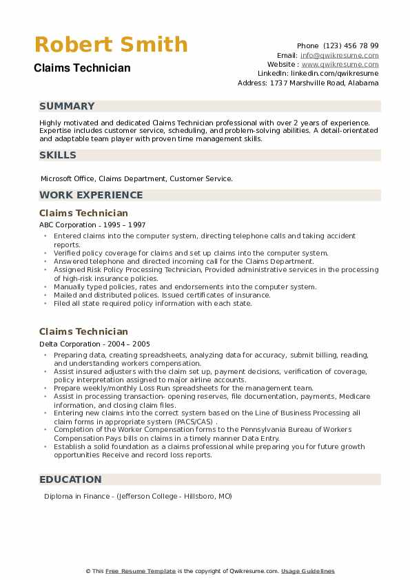 Claims Technician Resume example