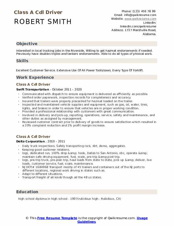 Class A Cdl Driver Resume Samples Qwikresume