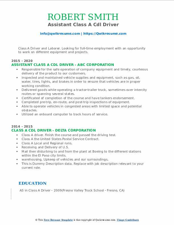 Class A CDL Driver Resume Samples | QwikResume