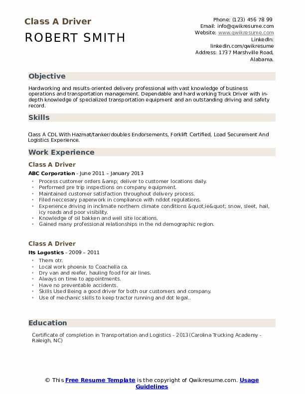 Class A Driver Resume Template