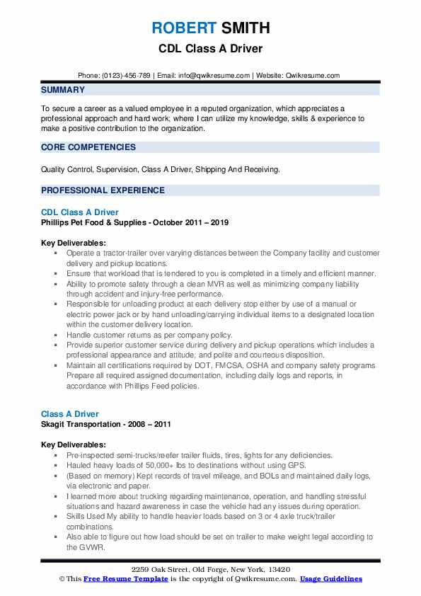 CDL Class A Driver Resume Example