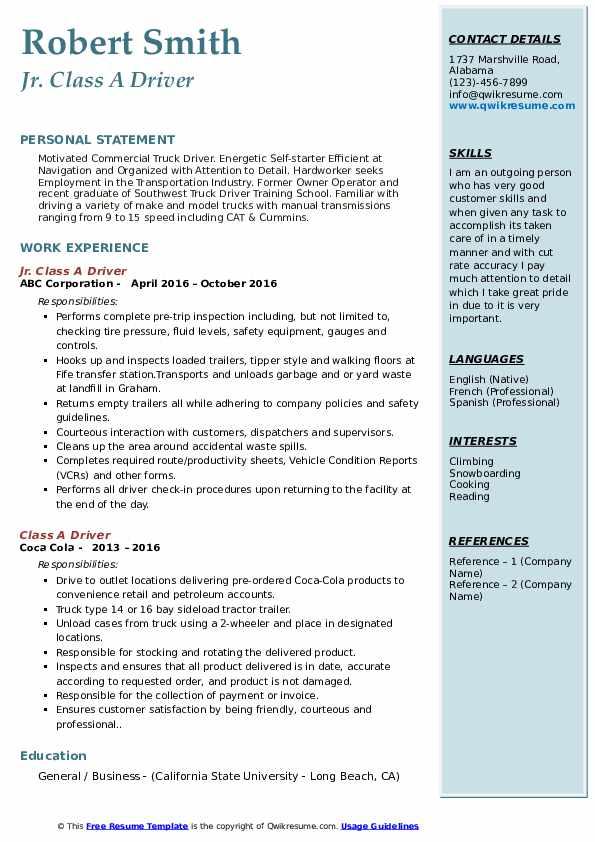 Jr. Class A Driver Resume Sample