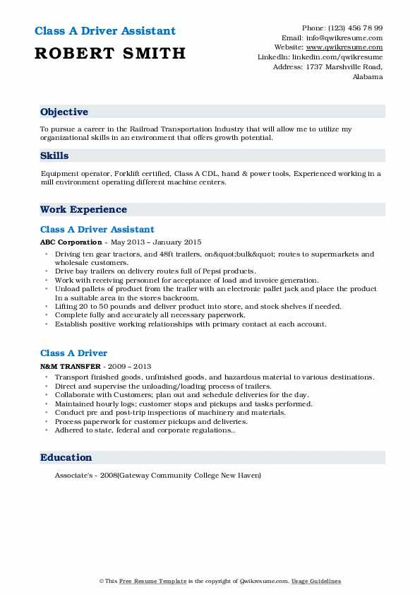 Class A Driver Assistant Resume Format