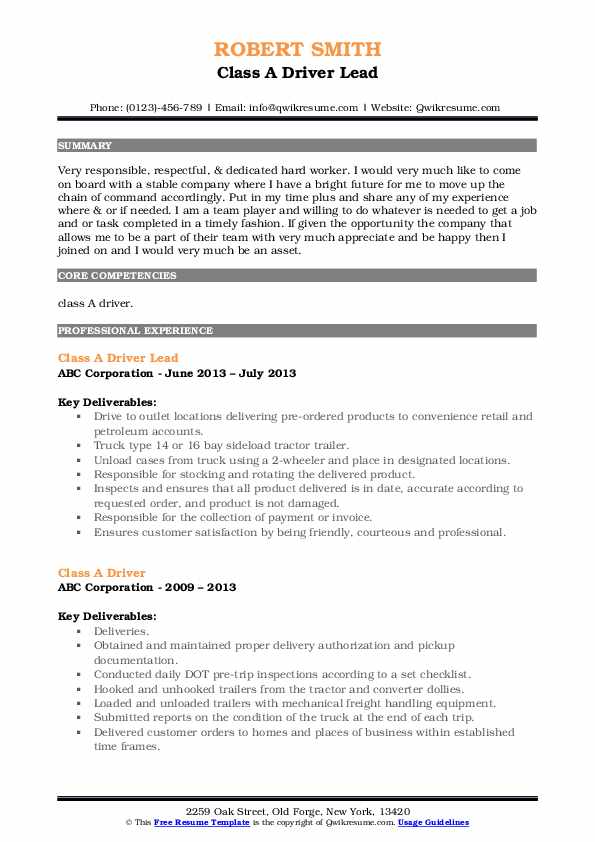 Class A Driver Lead Resume Template