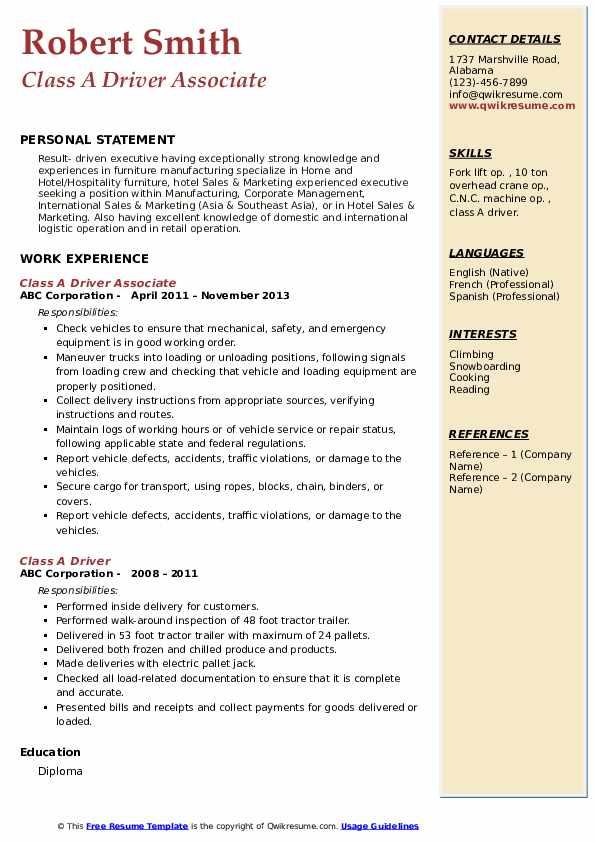 Class A Driver Associate Resume Sample