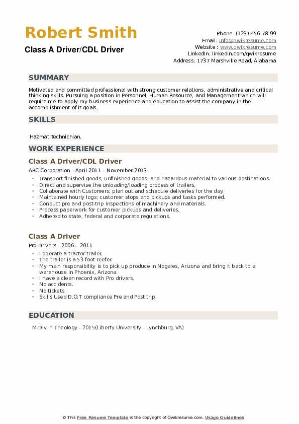 Class A Driver/CDL Driver Resume Sample