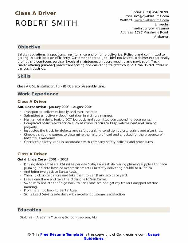 Class A Driver Resume example