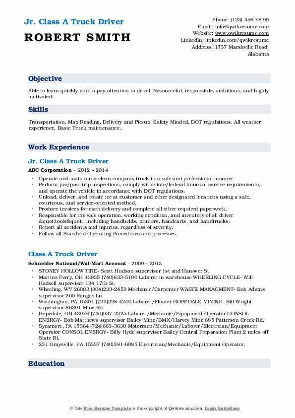 Jr. Class A Truck Driver Resume Format