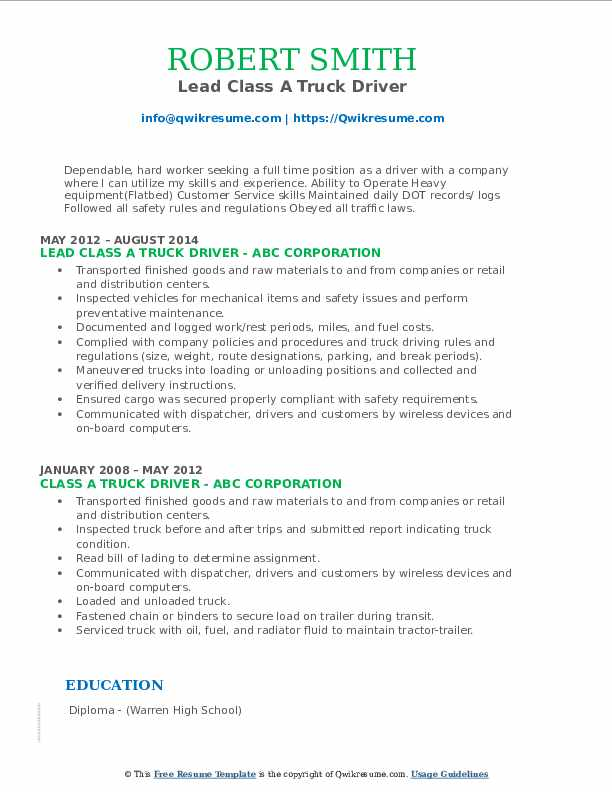 Lead Class A Truck Driver Resume Format
