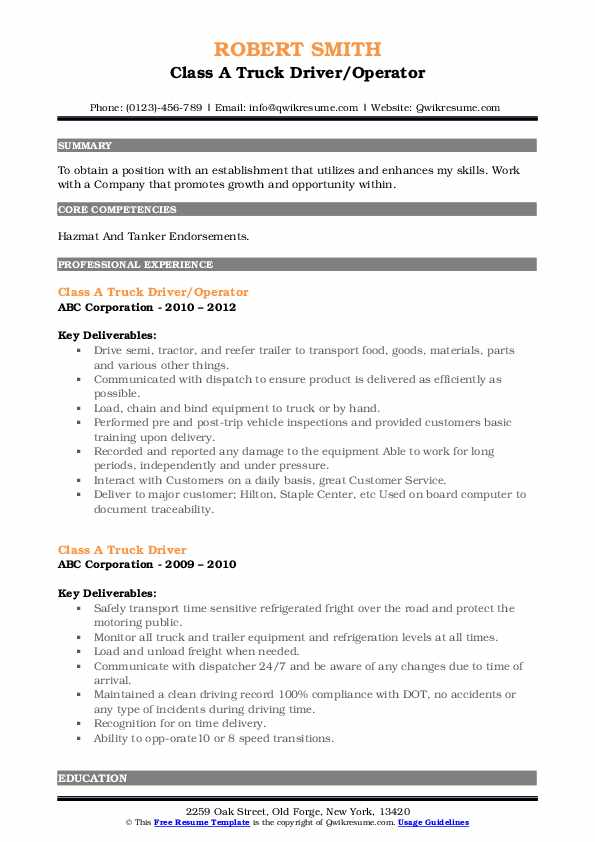 Class A Truck Driver/Operator Resume Example