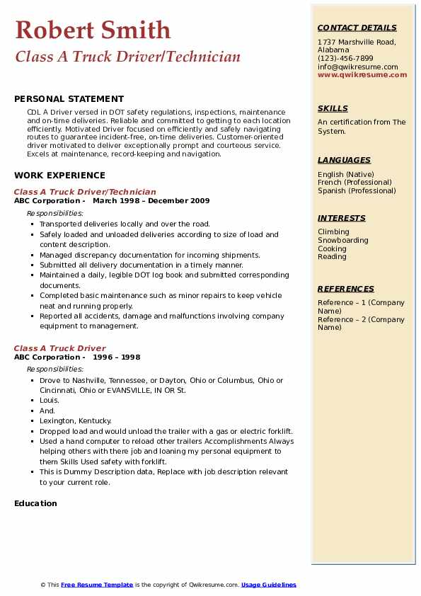 Class A Truck Driver/Technician Resume Example