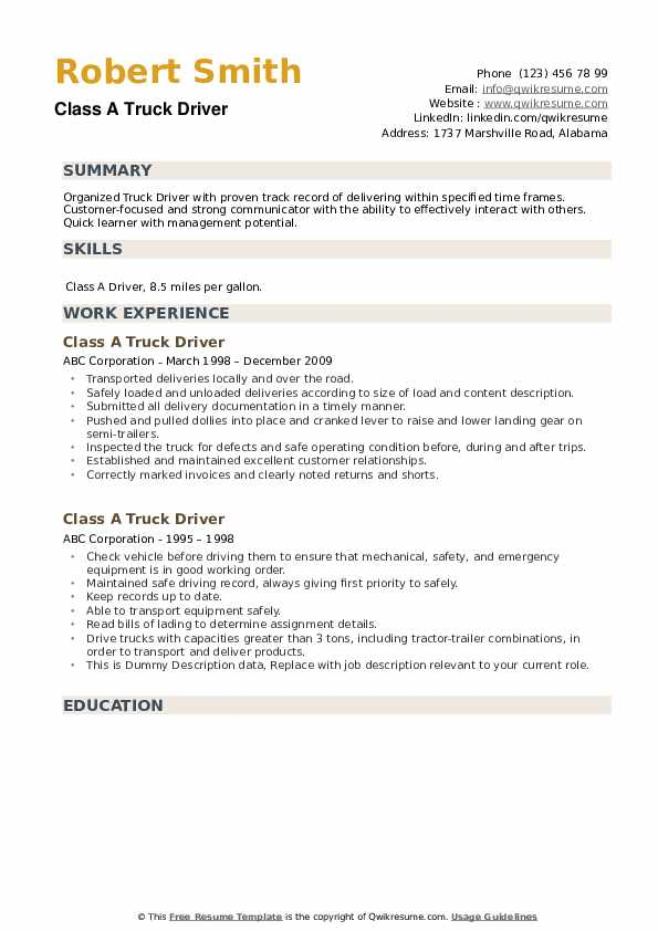 Class A Truck Driver Resume example