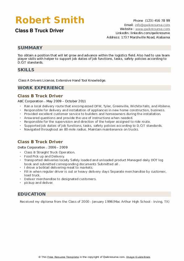 Class B Truck Driver Resume example