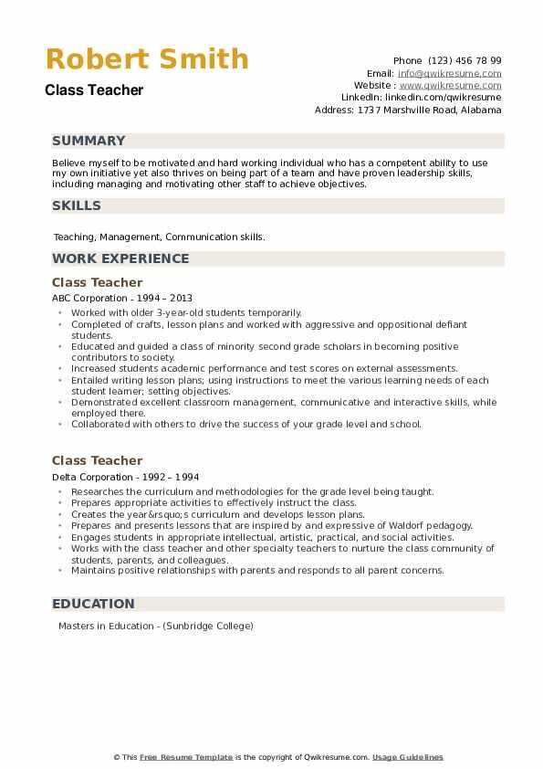 Class Teacher Resume example