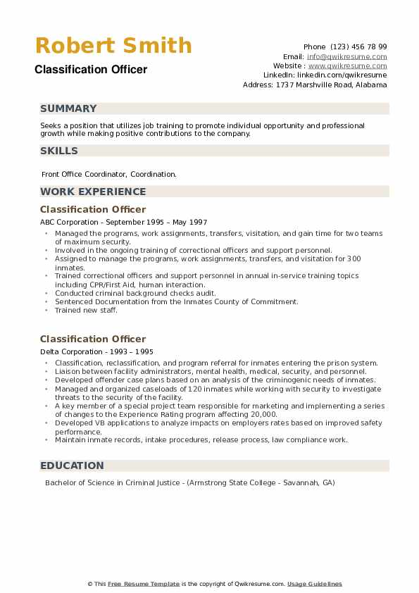 Classification Officer Resume example