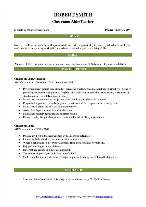 Classroom Aide/Teacher Resume Format
