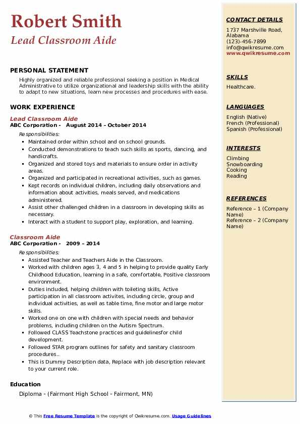 Lead Classroom Aide Resume Model