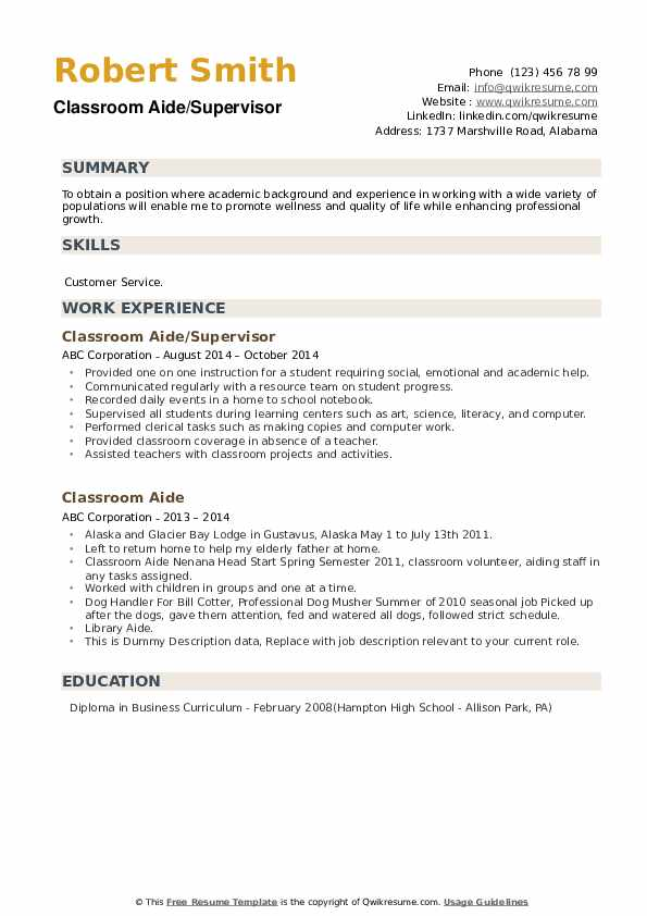 Classroom Aide/Supervisor Resume Sample