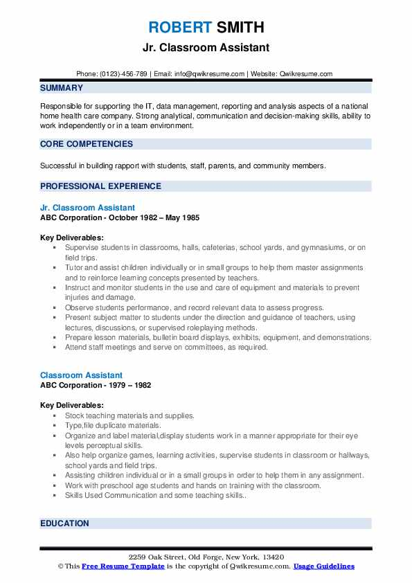 Jr. Classroom Assistant Resume Example