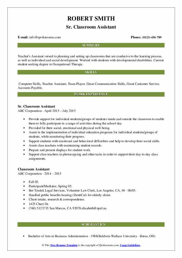 Sr. Classroom Assistant Resume Model