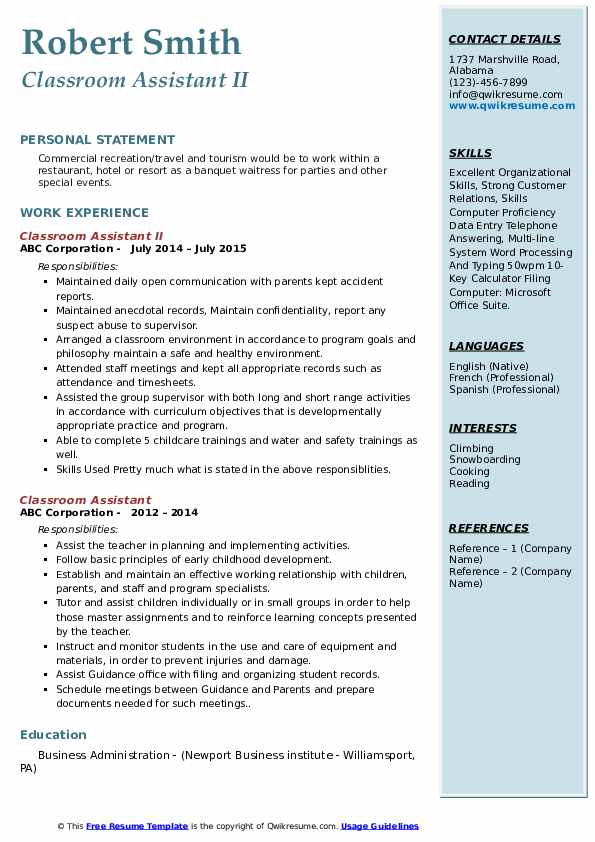 Classroom Assistant II Resume Sample