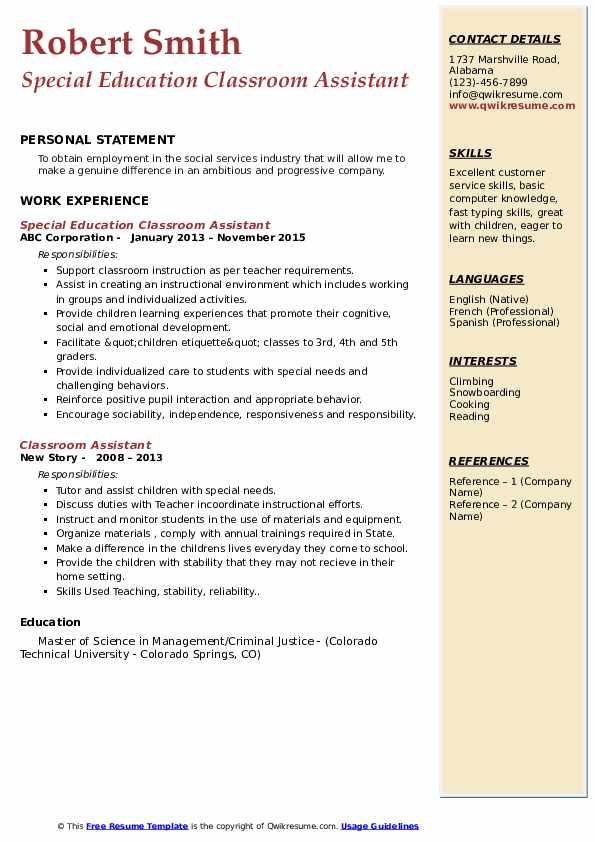 Special Education Classroom Assistant Resume Sample