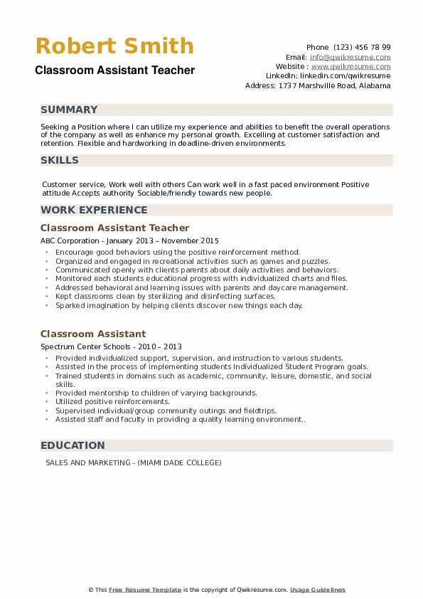 Classroom Assistant Teacher Resume Format