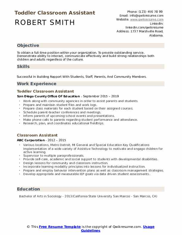 Toddler Classroom Assistant Resume Sample